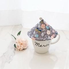 {Cup Cover}스페셜에디션_그레이 핑크 플라워 컵커버(컵덮개,컵뚜껑)