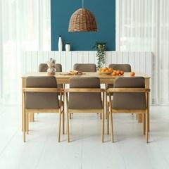 키요 고무나무 원목 식탁 세트 6인용 의자형 A_(1255150)