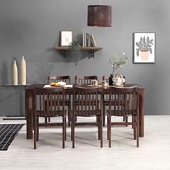키요 고무나무 원목 식탁 세트 6인용 의자형 B_(1255144)