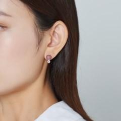 와인 큐빅 귀걸이