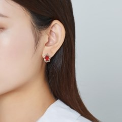엔틱 컬러 큐빅 귀걸이