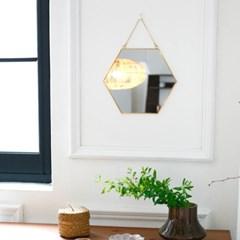 골드 프레임 육각 벽거울 (2종택1)