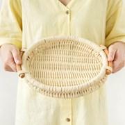 라탄 손잡이 원형 바구니 (화이트)