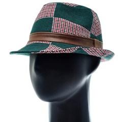 [더그레이]HMF09.체크 패치 페도라 중절모 남성 모자
