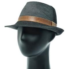 [더그레이]HMF03.투톤 데님 페도라 중절모 남성 모자