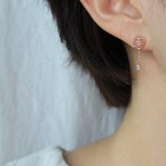 피치 문스톤 하트 로즈 귀걸이