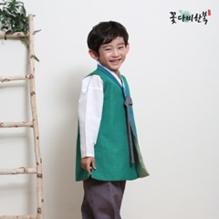 [복주머니 증정] 꽃다비 미르 초록 남아 한복