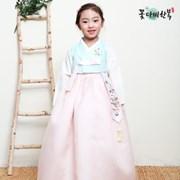 [복주머니 증정] 꽃다비 모니카 민트 여아 한복
