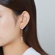 핑크 큐빅 투웨이 드롭 귀걸이