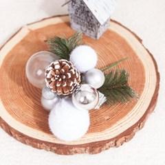 솔방울 화이트 픽 23cm 트리 크리스마스 장식 TROMCG_(1420455)