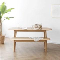 [오크] A2형 커브식탁/테이블 세트 : 화이트오크_(1365019)