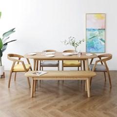[오크] A4형 커브식탁/테이블 세트 : 화이트오크_(1365017)