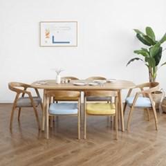 [오크] A5형 커브식탁/테이블 세트 : 화이트오크_(1365016)