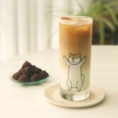 고양이 시바견 롱바디 일자 유리컵