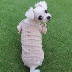 쭈글 셔링 티셔츠  자가드면소재 적당한 두께감 신축성 굿 강아지옷