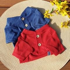헨리넥 니트 강아지티셔츠  와플무늬 원단 귀여운 투버튼  가을니트