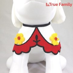 트루패밀리 강아지 고양이 노란 꽃 케이프
