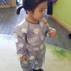 꿈두부 유아 전신미술가운 라미네이트 코팅 방수 놀이가운