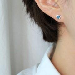 런던블루 토파즈 스텝 귀걸이(11월탄생석)