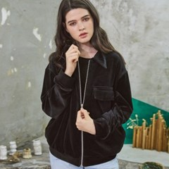 Cozy Velvet Short Jacket Black