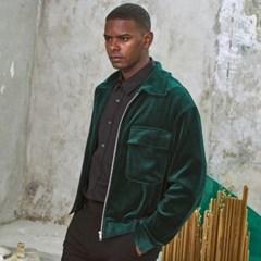 M-Cozy Velvet Short Jacket Green