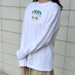 Go camping & Lazy afternoon 긴팔티셔츠 (white)