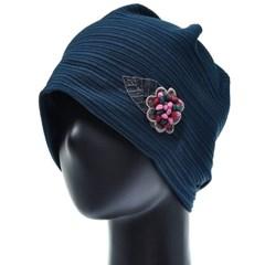 [더그레이]HSS02.꽃장식 가로줄 여성 비니 엄마 모자