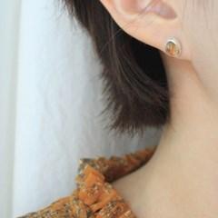 시트린 오벌 실버 귀걸이