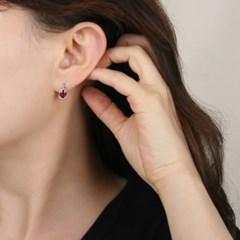 [925 실버]라운드 루비 실버 귀걸이 ER202_J
