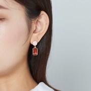 컬러 동그라미 마블사각 귀걸이
