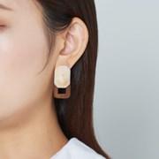 다각 마블 네모프레임 귀걸이