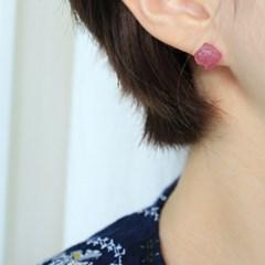 천연 루비 볼 귀걸이(7월탄생석)
