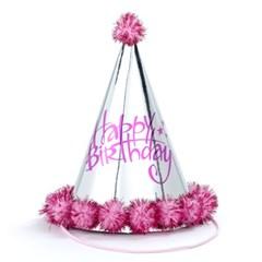 솜방울 생일고깔모자 [은박 핑크]_(11811459)