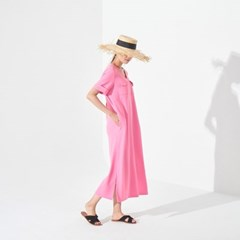 TILDA LONG DRESS (HOT PINK/BEIGE/BLACK)