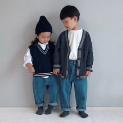 엔) 스쿨룩 아동 니트조끼