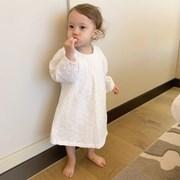 아기원피스 뽀송베이비 화이트 펀칭 레이스 유아동 드레스