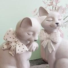 리본 고양이 장식인형 세트