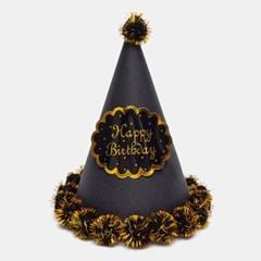 글리터 방울 생일고깔모자 대 [블랙]_(11817715)