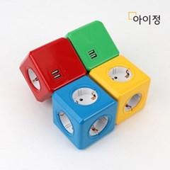 파워큐브 오리지널 USB 올컬러 레드 멀티탭 콘센트