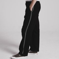 Side tape semi-wide pants_BLACK
