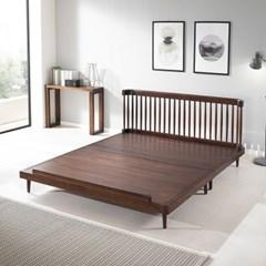 [리코베로] 로사 북유럽 장미나무 원목 평상형 침대 킹 / 사은품