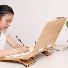 원목 수험생 학생 각도조절 2단 대나무 독서대 대형_(1327130)