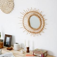라탄 벽거울 비대칭 원형
