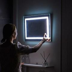 [Ldlab] 시크릿 LED 터치 사각 벽걸이 거울_(1716291)