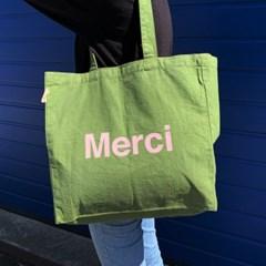 파리 편집샵 정품 메르시(Merci) Kaki 에코백 / 캔버스백