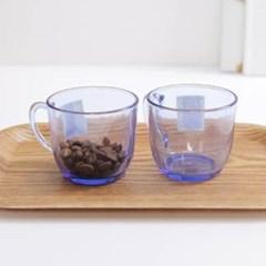 블루 에메랄드 유리잔 2개 1세트