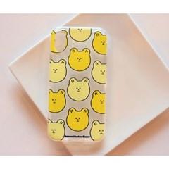 노란곰돌이패턴 투명 젤리 케이스