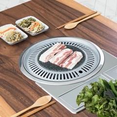 투톤우드슬랩 4인용 불판테이블2 철제접이식 미우새 김건모테이블