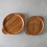 아카시아 나무 손잡이 접시 2size