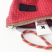 compact nylon pouch_red and white line